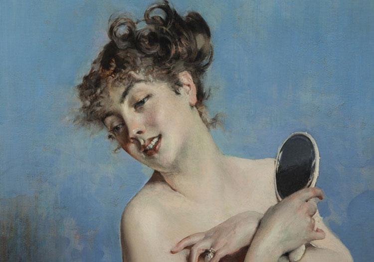 Giovanni Boldini,Giovane donna in déshabillé (La toilette), dettaglio (1880 circa; collezione privata)